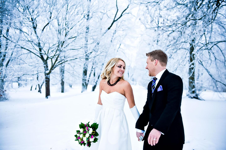 vinter bröllopsbild